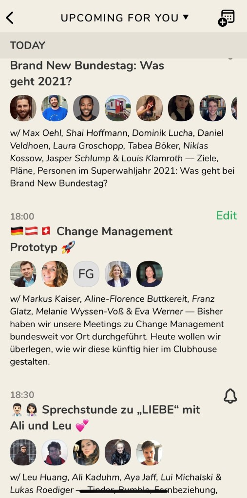 Screenshot der Clubhouse-App